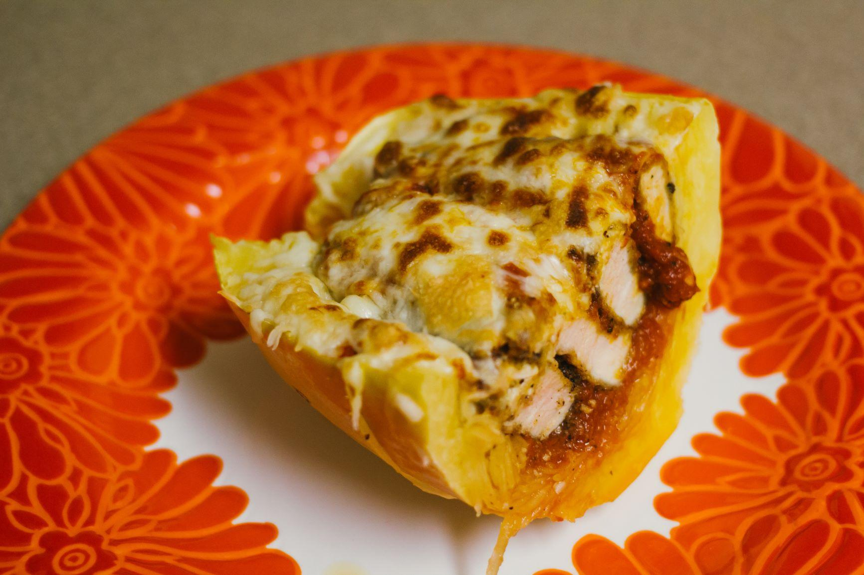 Spaghetti Squash Chicken Melted Sliced
