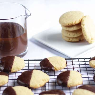 Chocolate Ganache Dipped Almond Sugar Cookie