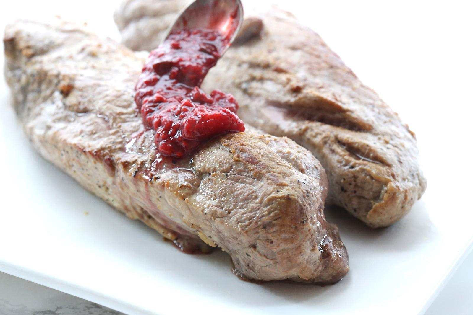 raspberry sauce pork